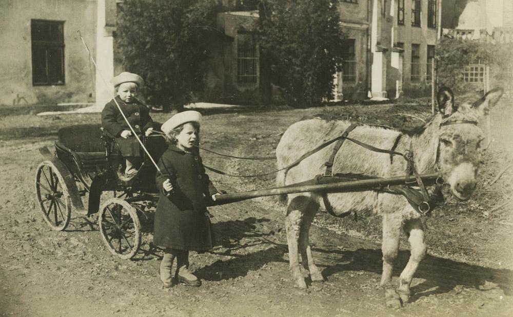 Andrzej i Józef Stadniccy, Nawojowa 1922 rok. Widoczny na fotografii powozik spalił się podczas pożaru w 1929 r.