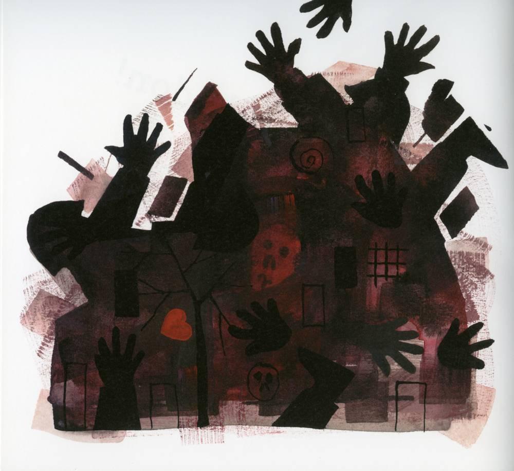 Illustration from Joanna Rudniańska's Bajka o Wojnie, art-work by Piotr Fąfrowicz