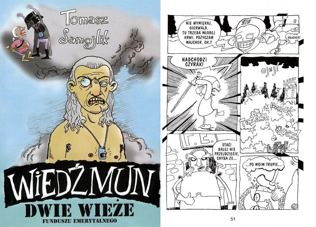 """Tomasz Samojlik, okładka i plansza z komiksu """"Wiedźmun"""", fot. Aleja Komiksu / www.alejakomiksu.com"""