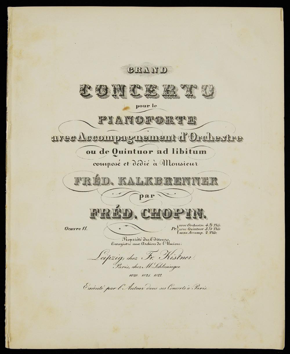 Chopin, Grand concerto : pour le pianoforte avec accompagnement d'orchestre ou de quintuor ad libitum : oeuvre 11 : sans accomp. Photo: Polona Polish Digital National Library / www.polona.pl