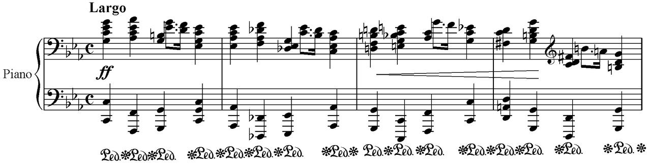 Akordy blokowe otwierające Preludium nr 20 c- moll. Wszystkie nuty, które tworzą pionową linię grane są jednocześnie, tworząc w ten sposób akord blokowy.