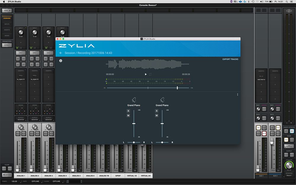 A screenshot of the software used to operate ZYLIA