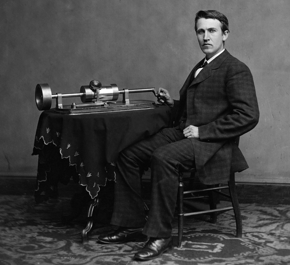 Thomas Edison with his second phonograph, photographed by Mathew Brady in Washington, April 1878, photo: Wikipedia