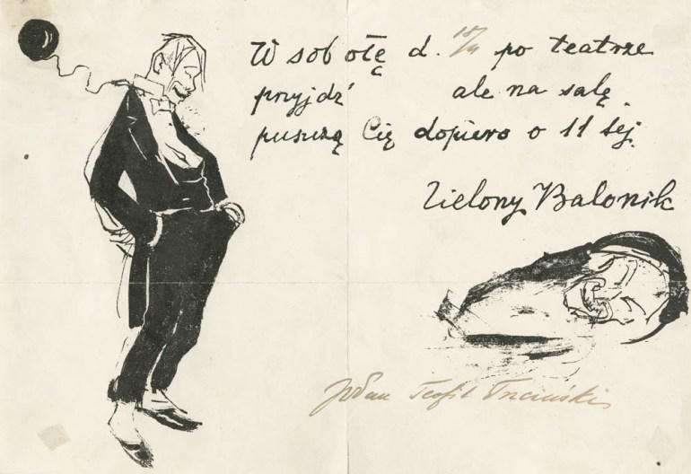"""Zaproszenie do Kabaretu """"Zielony Balonik """", 1919, grafika, Zaklad Litografii A. Pruszyński, fot. Muzeum Historyczne Miasta Krakowa"""