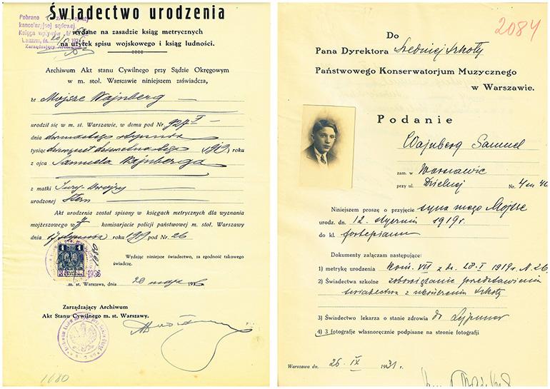 Świadectwo urodzenia oraz podanie do konserwatorium Mieczysława Wajnberga, fot. Archiwum UMFC