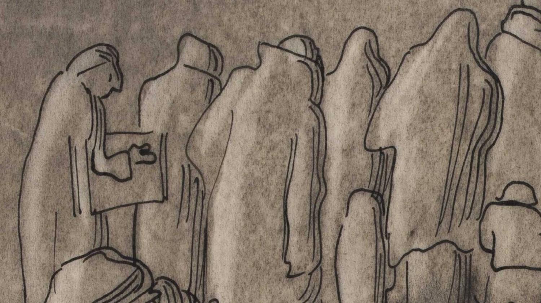 Розенфельд, «Похороны жены носильщика» (фрагмент). Фото: Архив Рингельблюма / Еврейский исторический институт в Варшаве