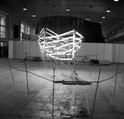 """""""Wszyscy dla jednej, jedna dla wszystkich / All for one, one for all"""", 1989, object (800 x 200 x 200 cm, 120 neon lamps, electric installation, wood, tar, cotton yare)"""