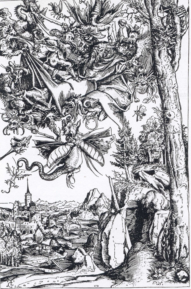 Lucas Cranach the Elder (1472-1553), The Temptation of St. Anthony, woodcut print, courtesy of the National Museum in Gdańsk, photo: kolekcje.mkidn.gov.pl