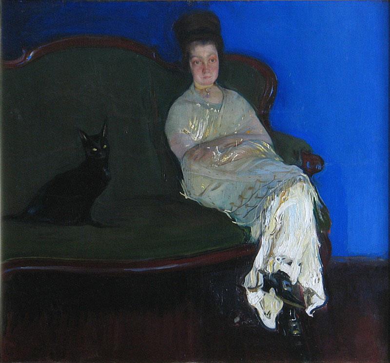 """Konrad Krzyżanowski, """"Portret żony z kotem"""", 1912, fot. dzięki uprzejmości Muzeum Śląska Opolskiego"""