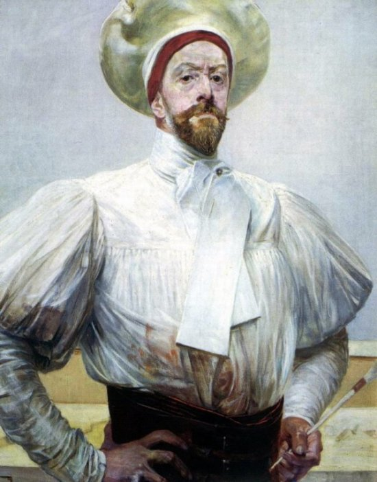 Jacek Malczewski, Self-portrait in white dress, 1909-10, oil on cardboard, photo: National Museum in Warsaw