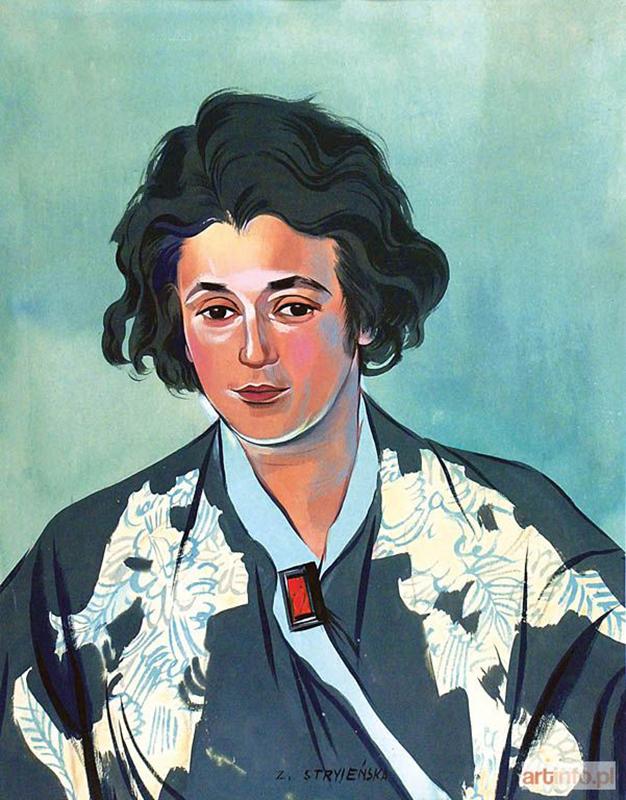 """Zofia Stryjeńska, """"Autoportret"""", z ok. 1935, gwasz, papier, 42 x 33,2 cm, kolekcja prywatna, fot. http://www.artinfo.pl"""