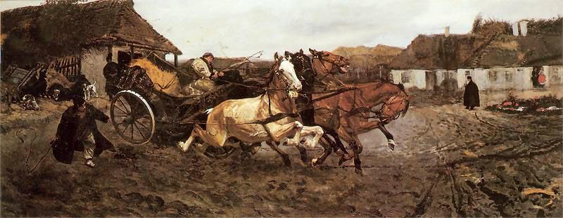 «Испытание четверки», 1878, холст, масло. 71 x 175,5 см, из частной коллекции, фото: GMP