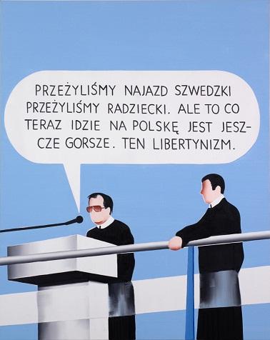 """Marcin Maciejowski, """"Kazanie V (Przeżyliśmy najazd szwedzki)"""", 2006, wł. Galeria Meyer Kainer, Wiedeń"""