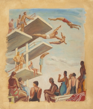 Pływalnia (Swimming Pool), Ewa Maria Łunkiewicz-Rogoyska, 1939, from the collection of the National Museum in Warsaw