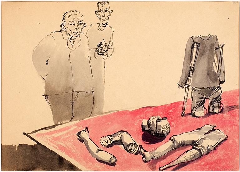"""Andrzej Wróblewski, """"Muzeum"""", 1956, gwasz na papierze, 30 x 41 cm, Muzeum Sztuki Nowoczesnej w Warszawie, fot. materiały promocyjne"""