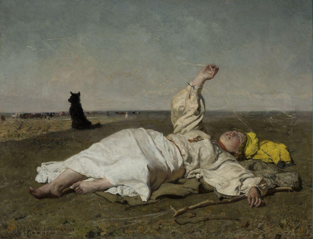 """Józef Chełmoński, """"Babie lato"""", 1875, olej na płótnie, wł. Muzeum Narodowe w Warszawie, 119,7 x 156,5 cm - całość, fot. Muzeum Narodowe w Warszawie"""