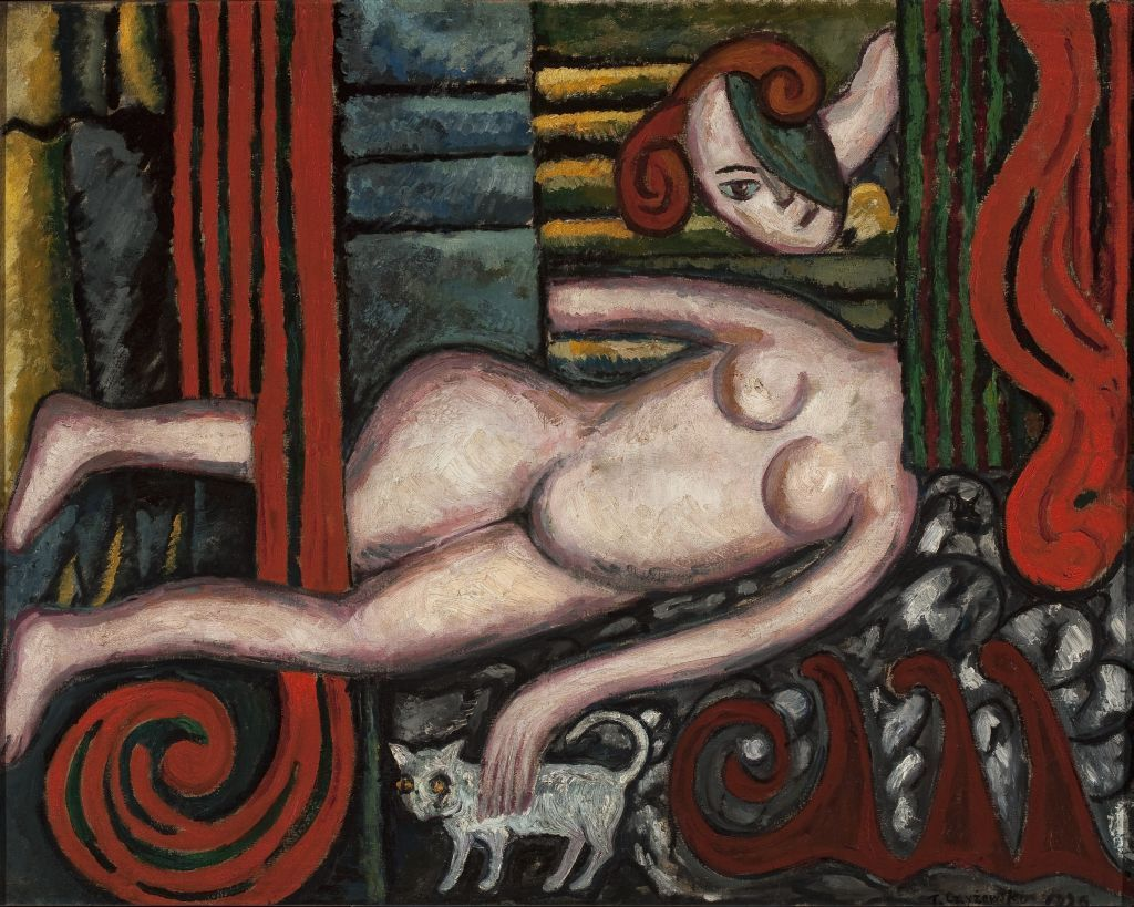 Tytus Czyżewski, Akt z kotem (Nude with a Cat), 1920, oil on canvas, 76 x 96 cm, from the collection of the National Museum in Warsaw, photo: NMW