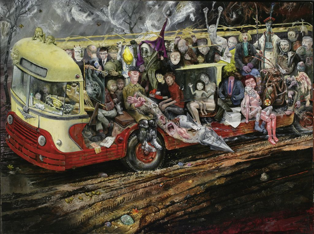 Bronisław Wojciech Linke, Autobus (Bus), 1959-1961, oil on canvas, 134 x 178.5 cm, from the collection of the National Museum in Warsaw, photo courtesy the National Museum in Warsaw