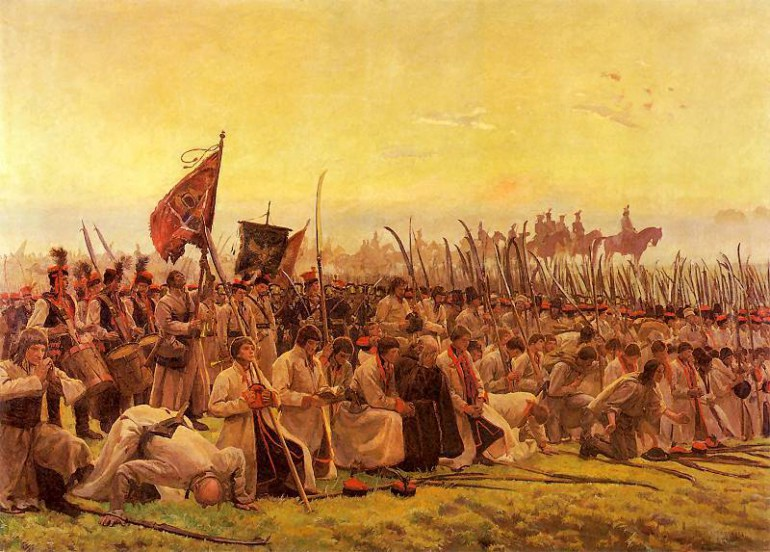 The battle of Racłąwice was won thanks to the brave assault of Kosynierzy or Scythemen, that is peasants armed with scythes. Picture: Prayer before the Battle, 1906, Source: CC BY-SA 3.0 / Wikimedia