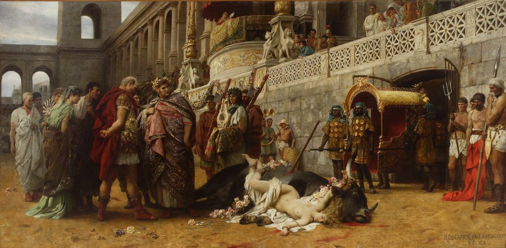 The painting Christian Dirce by Henryk Siemiradzki, 1897, shares many similarities to the central scene in Henryk Sienkiewicz's Quo Vadis, which it predated. Source: collection of the National Museum in Warsaw
