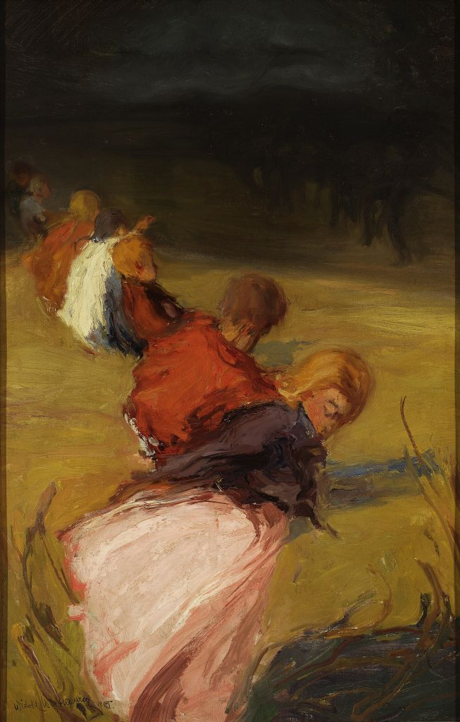 Witold Wojtkiewicz, Korowód dziecięcy / Children Procession, 1905, oil on canvas, 92 x 50 cm,property of the National Museum in Warsaw, photo: The National Museum in Warsaw MNW