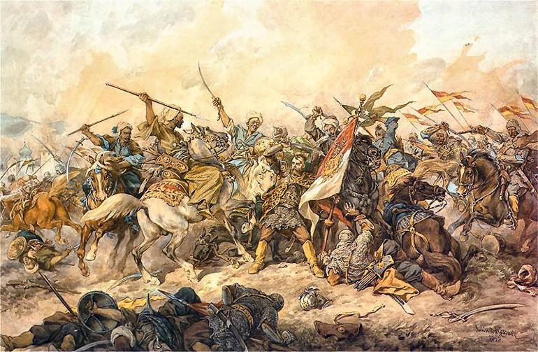 """Juliusz Kossak, """"Krzysztof Gniewosz ginący w obronie chorągwi pod Chocimem"""", 1892, fot. CC / Wikimedia Commons"""