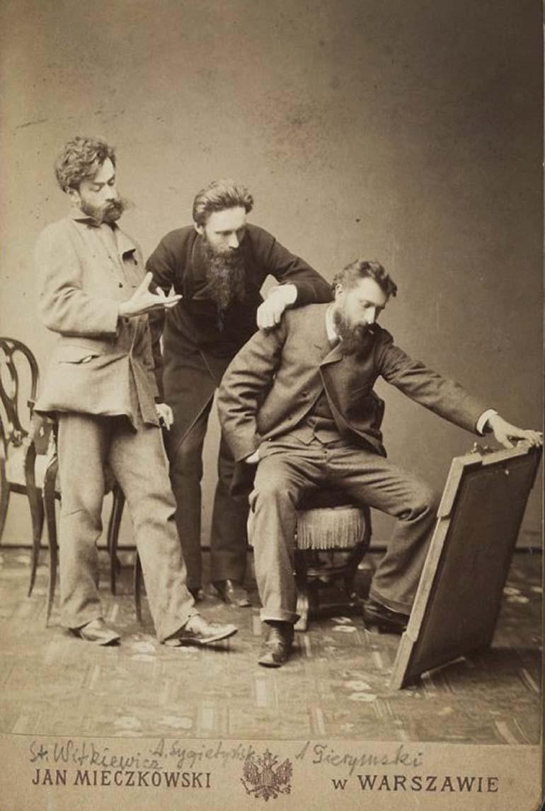 Portret Aleksandra Gierymskiego, Stanisława Witkiewicza i Antoniego Sygietyńskiego oglądających obraz