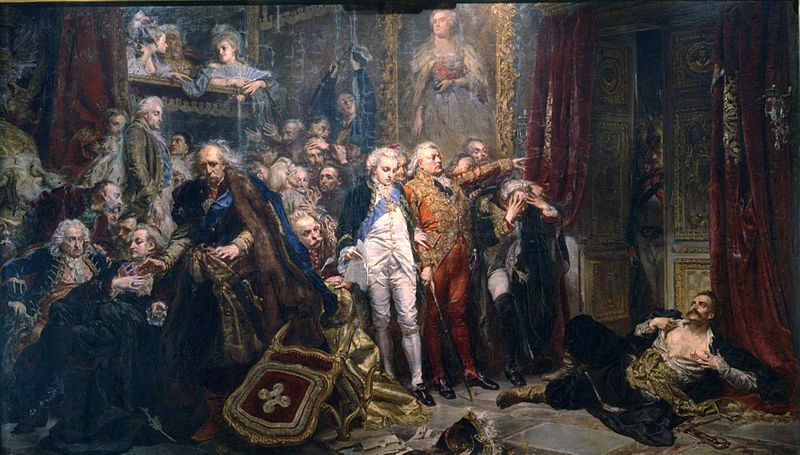 Иллюстрация к тезису об исторических несоответствиях на картинах Матейко: Станислав Август, Гуго Коллонтай и Михаил Чарторыйский на Сейме 1773 года, на котором протестовал Рейтан, не присутствовали