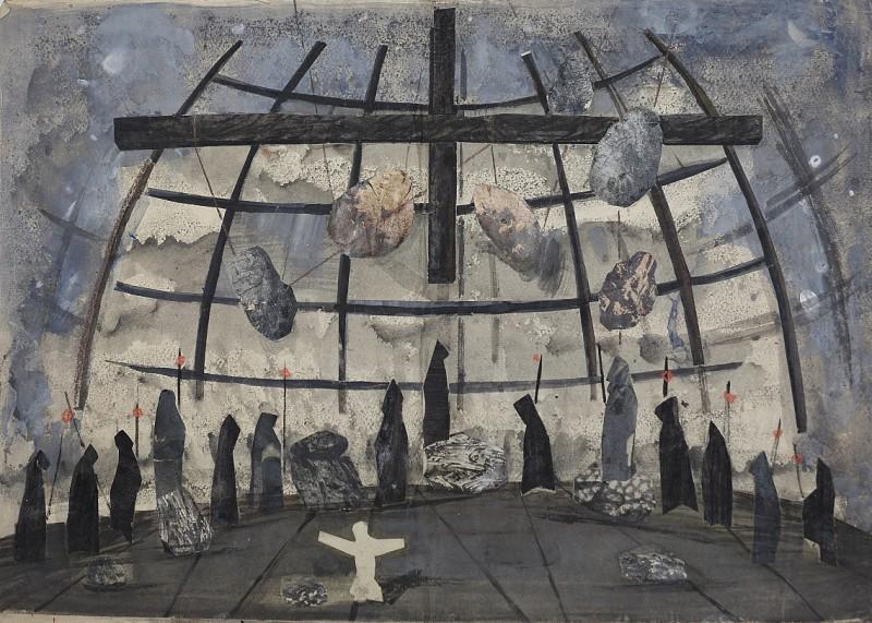 """Józef Szajna, projekt scenografii do przedstawienia """"Faust"""", 1967, w zbiorach Opery Krakowskiej, fot. materiały prasowe Muzeum Narodowego w Krakowie"""