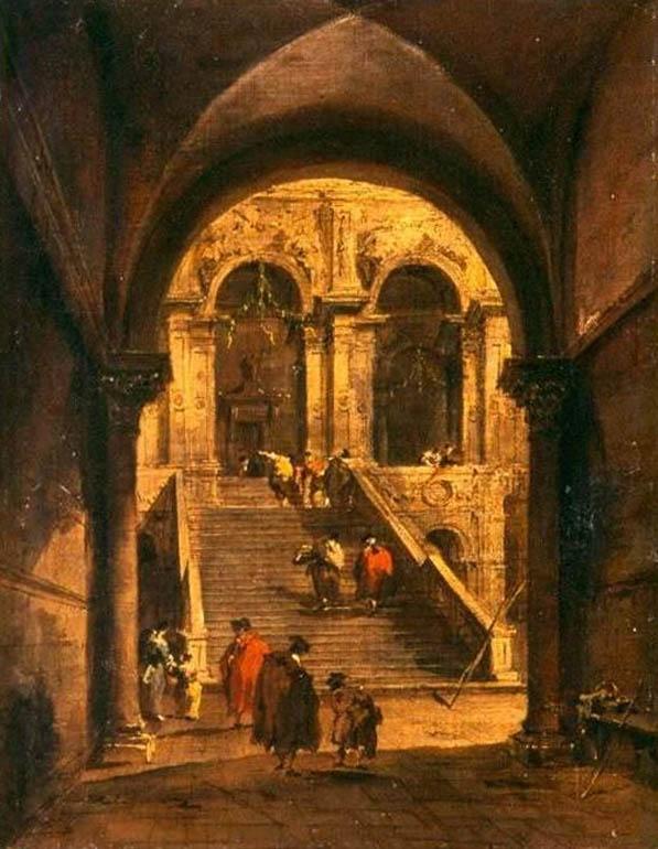 """Francesco Guardi """"Schody pałacowe"""", II poł. XVIII w., fot. dzięki uprzejmości MKiDN"""