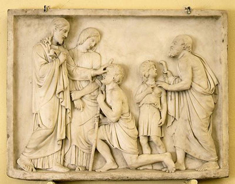"""Jakub Tatarkiewicz, """"Chrystus uzdrawiający niewidomych"""" 1827, marmur biały fot. T. Żółtowska-Huszcza w zbiorach Muzeum Narodowego w Warszawie"""