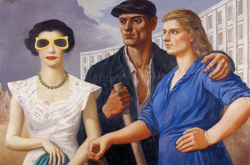 "Wojciech Fangor, ""Characters"", 1950, oil on canvas (fragment), from the collection of the Łódź Art Museum. Photo: MSŁ"