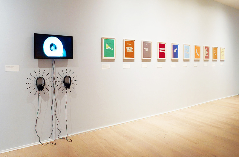 Katalin Ladik, Ausgewählte Volkslieder (Selected Folk Songs), 1973-1975, installation view, 10 framed collages on paper. Courtesy of Kontakt. The Art Collection of Erste Group and ERSTE Foundation, photo by Steve White