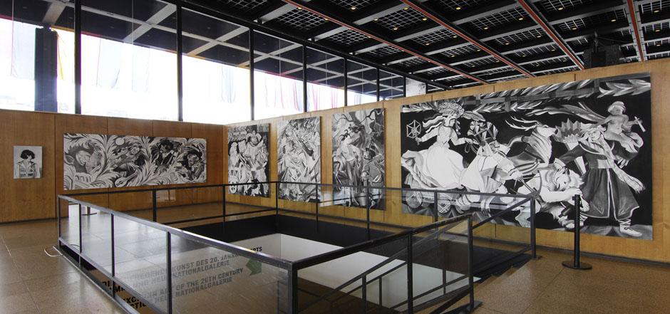 """""""Zofia Stryjeńska:Collaged Stryjeńska"""", instalacja w Schinkel Pavillon w Berlinie, 2008, kuratorka: Paulina Ołowska, fot. Uwe Walter / źródło: berlinbiennale.de"""