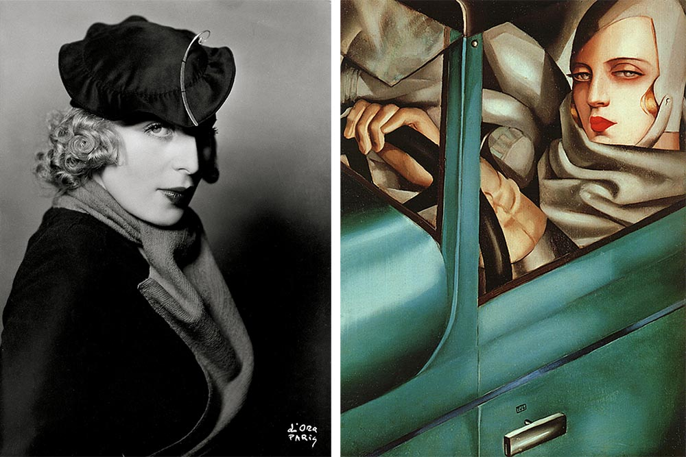 Tamara Łempicka's Portrait, Paris 1932, rep. IMAGNO /Austrian Archives / Forum, Tamara Łempicka, Self-portrait in a green Bugatti, 1925, oil on canvas, rep. Marek Skorupski / Forum