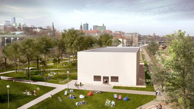 Wizualizacja skali i lokalizacji pawilonu Muzeum nad Wisłą projektu Adolfa Krischanitza, fot. artmuseum.pl