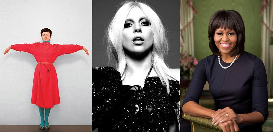 """Paulina Ołowska """"Alfabet"""", fot. dzięki uprzejmości artystki i Metro Pictures / Lady Gaga, fot. materiały promocyjne / Michelle Obama, fot. Forum"""