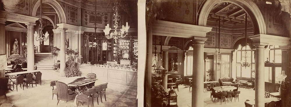 Sweet shop in Hotel Europejski, 1875; exterior of the hotel, 1878, photo: mbc.cyfrowemazowsze.pl