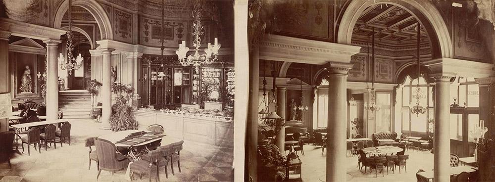 Sweet shop in Hotel Europejski, 1875; exterior of the hotel, 1878, photo: mbc.cyfrowemazowsze.pl