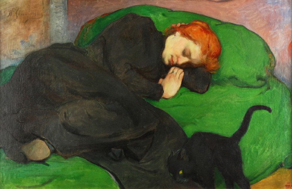 Śpiąca kobieta z kotem or Sleeping Woman With a Cat by Władysław Ślewiński, 1896, photo: Rempex auction house