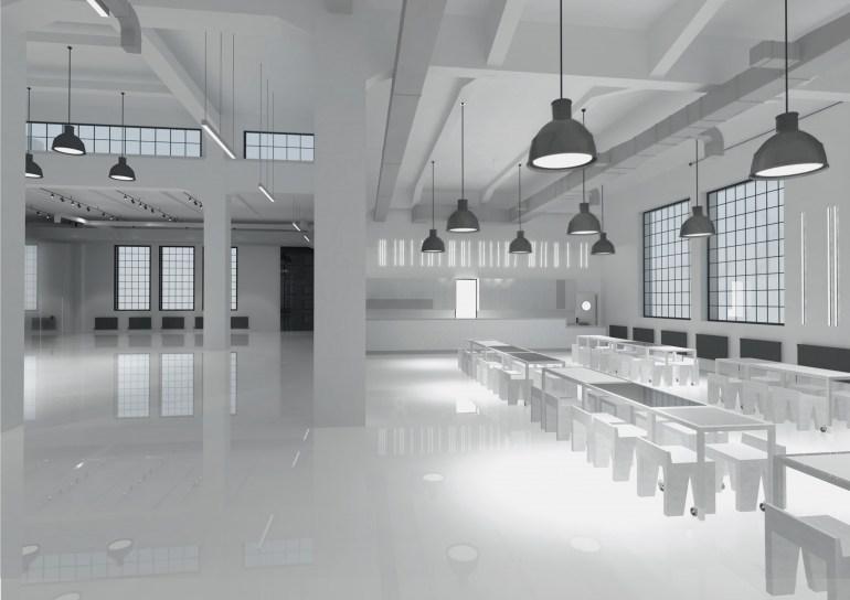 Wizualizacja wnętrza hali- foyer