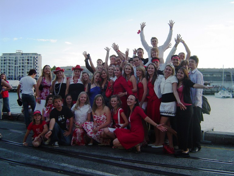 The team before the Red and White Party at Hobart, Tasmania, 2012, photo: private archives of Donata Ostrowska