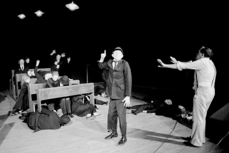 Tadeusz Kantor during the showing of The Dead Class, Kraków, May, 1983, photo:  Wojciech Kryński / Forum