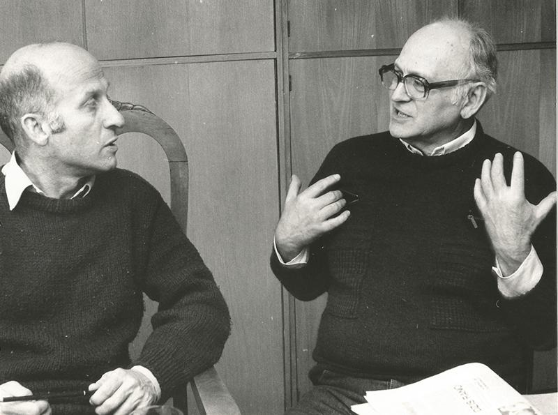 Tadeusz Minc w rozmowie z Tomaszem Łubieńskim, Wrocław, Teatr Polski, 1991, fot. archiwum rodzinne
