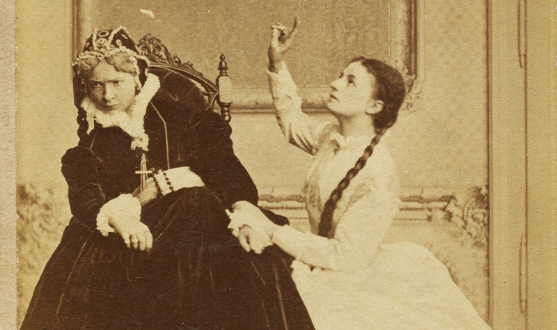 "Antonina Hoffmann and Helena Modrzejewska in the play ""Halszka z Ostroga"",  Józef Szujski , Teatr Krakowski, premiere: 12.05.1866, photo: Walery Rzewuski / Forum"