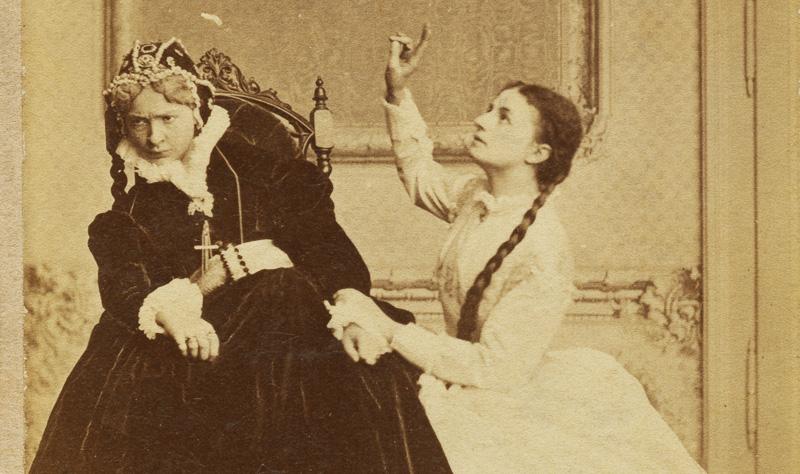 """Antonina Hoffmannand Helena Modrzejewska in the play """"Halszka z Ostroga"""",Józef Szujski,Teatr Krakowski, premiere: 12.05.1866, photo: Walery Rzewuski / Forum"""