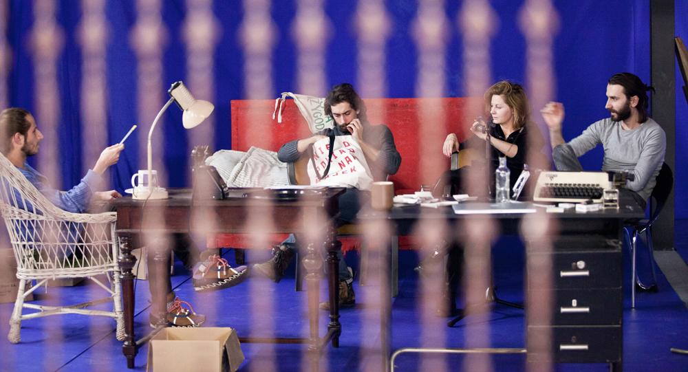 """Zdjęcie z próby przedstawienia """"Kronos"""", 2013, fot. Natalia Kabanow / Teatr Polski we Wroclawiu"""