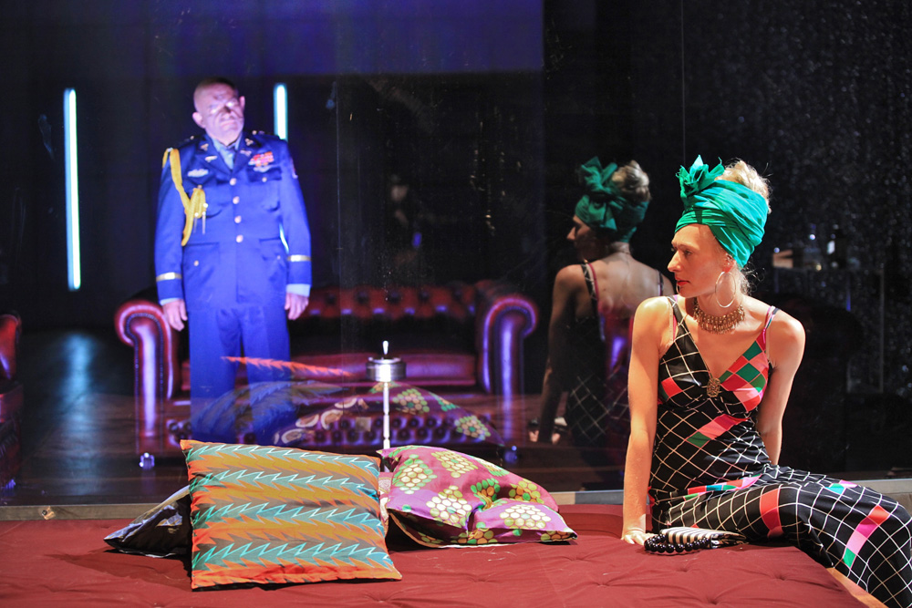 In the photo: Magdalena Popławska and Adam Ferency in a scene from the performance African Tales According to Shakespeare directed by Krzysztof Warlikowski; photo: Marie-Francoise Plissart / Théâtre de la Place, LiègeCaption