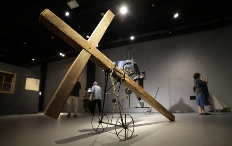 "Cross from ""Wielopole , Wielopole "" 1980. Exhibition at the Centre for Documentation of the Art of Tadeusz Kantor - Cricoteka in Kraków, photo: Beata Zawrzel /REPORTER"