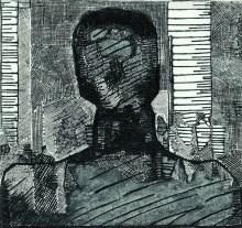 Portret X (1971) technika mieszana, 50x53,5 cm w zbiorach Muzeum Narodowego we Wrocławiu fot. pracownia fotograficzna MNWr